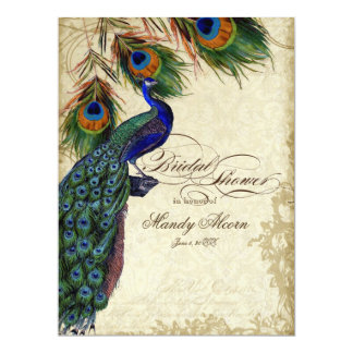 Peacock & Feathers Bridal Shower Tea Stained Card