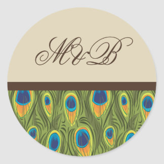 Peacock Feathers Brown Monogram Sticker