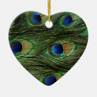 Peacock Feathers Ceramic Heart Decoration