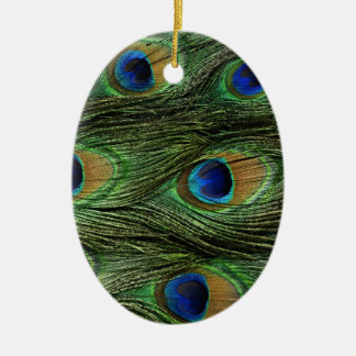 Peacock Feathers Ceramic Oval Decoration
