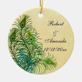 Peacock Feathers Customisable Wedding Ornament