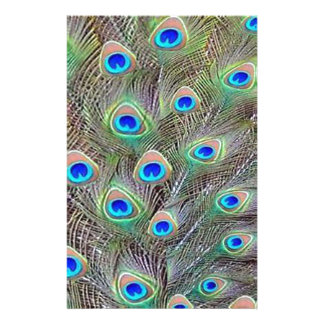 Peacock Feathers Customized Stationery