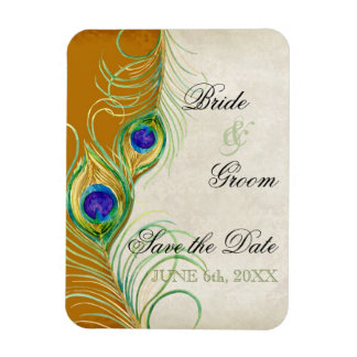 Peacock Feathers Damask Save the Date Rectangular Magnets