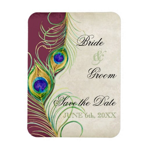 Peacock Feathers Damask Save the Date Rectangular Magnet