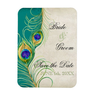 Peacock Feathers Damask Save the Date Rectangular Photo Magnet