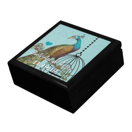 Peacock Feathers Damask Wedding Anniversary Keepsake Boxes