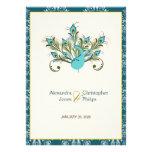 Peacock Feathers Damask Wedding Personalized Invitation