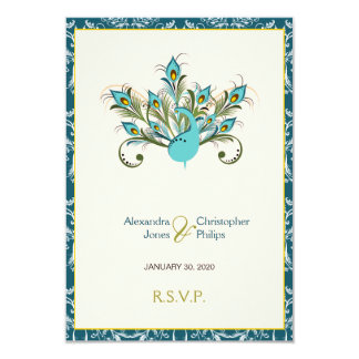 Peacock Feathers Damask Wedding RSVP Card
