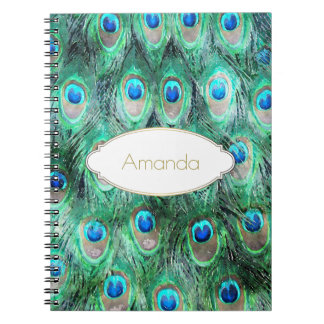 Peacock Feathers Exotic Wild Watercolor Pattern Spiral Note Books