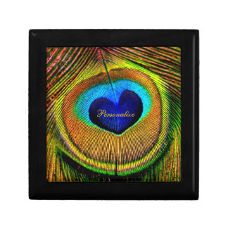 Peacock Feathers Eye of Love With Name Small Square Gift Box