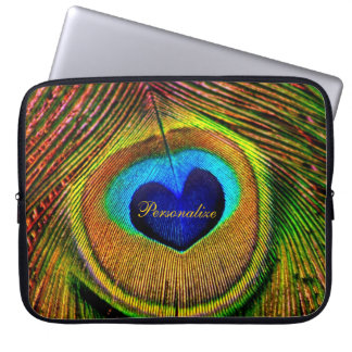 Peacock Feathers Eye of Love With Name Laptop Sleeve