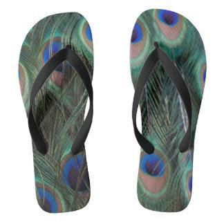 Peacock Feathers Flip Flops Thongs