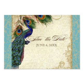 Peacock & Feathers Formal Save the Date Aqua Blue 13 Cm X 18 Cm Invitation Card
