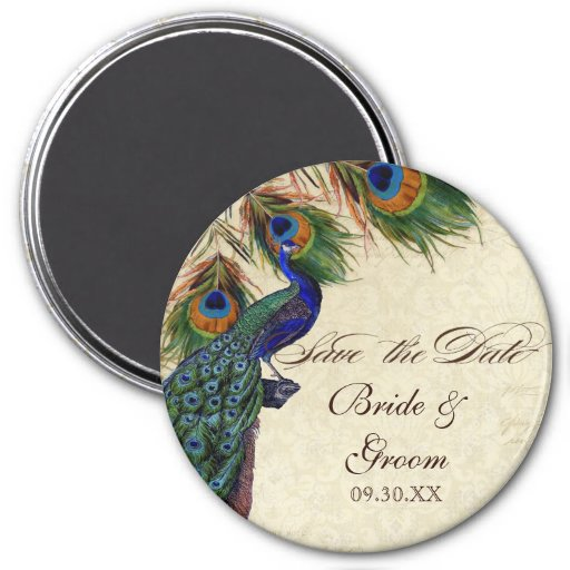 Peacock & Feathers Formal Save the Date Black Tan Refrigerator Magnets