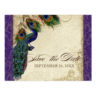 Peacock & Feathers Formal Save the Date Purple Postcard