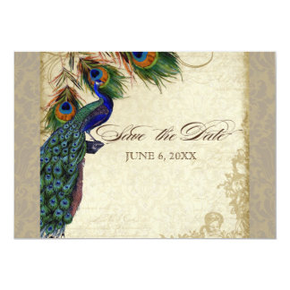 Peacock & Feathers Formal Save the Date Taupe Tan 13 Cm X 18 Cm Invitation Card