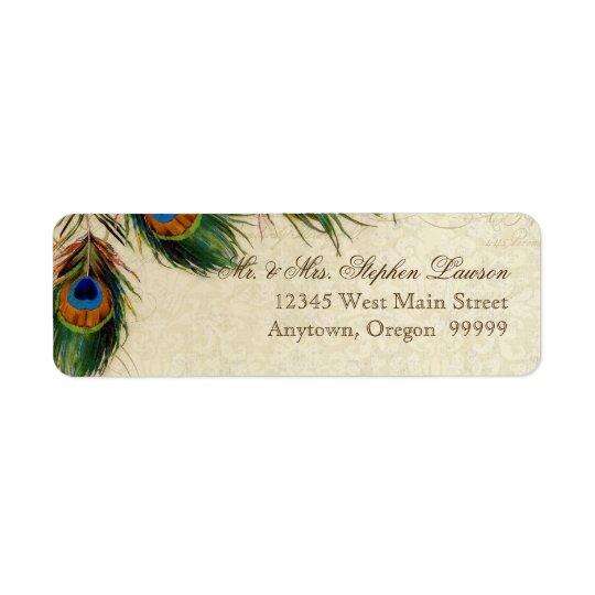 Peacock & Feathers Formal Wedding Matching Address Return Address Label