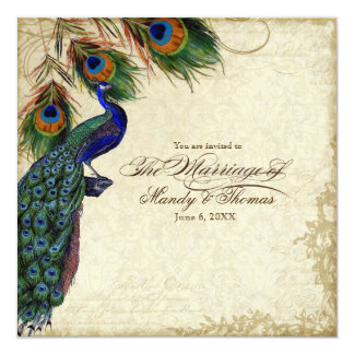 Peacock & Feathers Formal Wedding Tea Stained Personalized Invitation