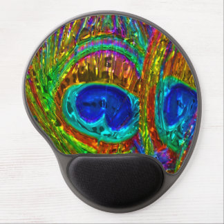 Peacock Feathers Glass Art 1 Gel Mousepad