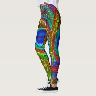 Peacock Feathers Glass Art 1 Leggings