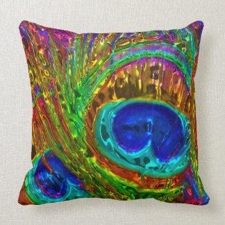 Peacock Feathers Glass Art 1 Pillows