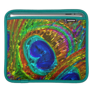 Peacock Feathers Glass Art 1 Sleeves For iPads