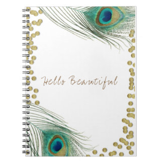 Peacock Feathers & Gold Boho Glam Elegant Notebooks
