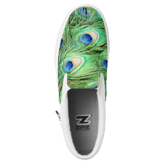 Peacock Feathers Green Blue Slip On Sneakers