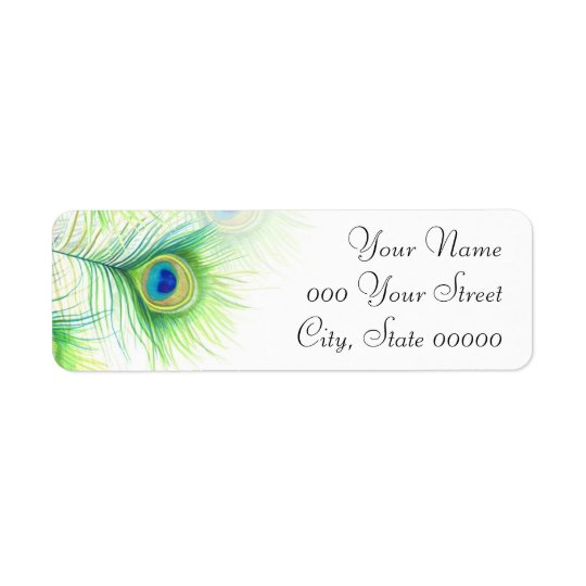 Peacock Feathers Hand Painted Wedding Return Address Label
