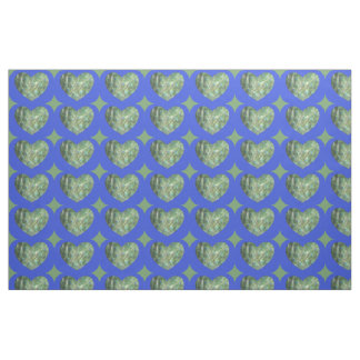 Peacock Feathers Heart Fabric