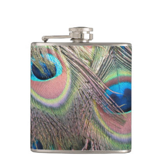 Peacock Feathers Hip Flask