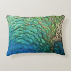 Peacock Feathers I Colourful Abstract Nature Decorative Cushion