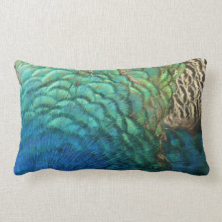 Peacock Feathers I Colourful Abstract Nature Lumbar Pillow