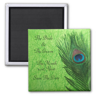 Peacock Feathers in Lime Green Wedding Magnets