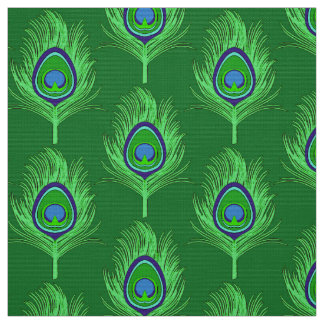 Peacock Feathers, Lime Green on Emerald Green Fabric