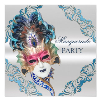 Peacock Feathers Mask Masquerade Party Silver Card