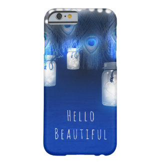 Peacock Feathers, Mason Jar & String Lights Rustic Barely There iPhone 6 Case