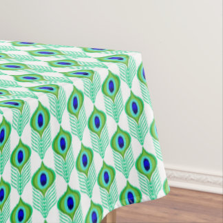 Peacock feathers moroccan ikat design tablecloth