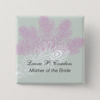 Peacock Feathers  Mother of the Bride 15 Cm Square Badge