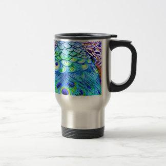 Peacock Feathers Multi Colors Travel Mug