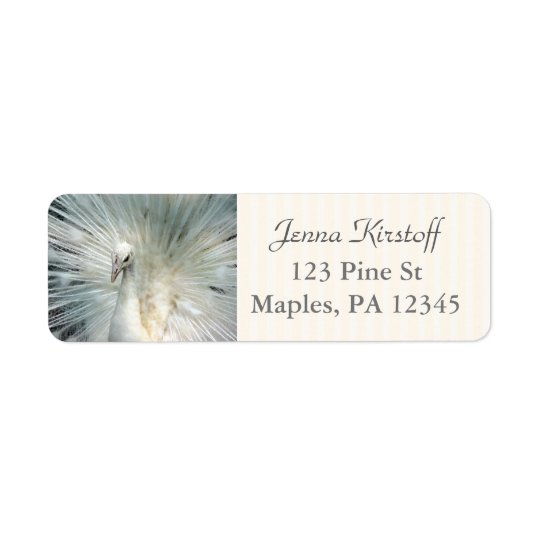 Peacock Feathers Off White  Return Address Labels