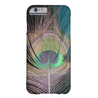 Peacock Feathers on black and turquoise Barely There iPhone 6 Case