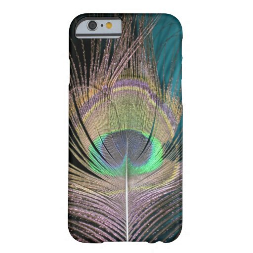 Peacock Feathers on black and turquoise iPhone 6 Case