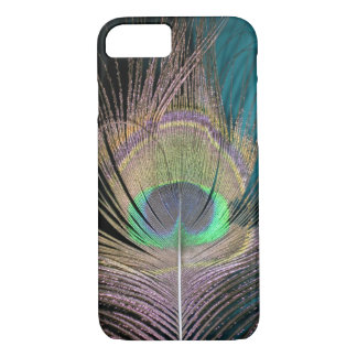 Peacock Feathers on black and turquoise iPhone 8/7 Case