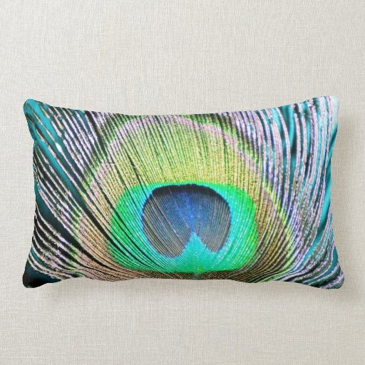 Peacock Feathers on turquoise Pillows