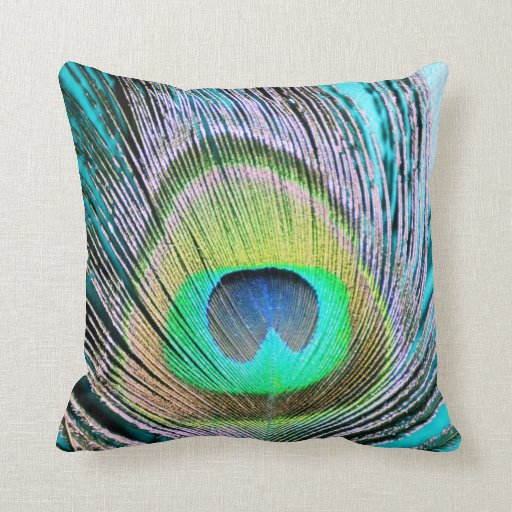 Peacock Feathers on turquoise Throw Pillow