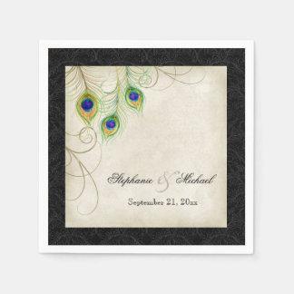 Peacock Feathers Parchment Wedding Reception Decor Disposable Serviettes