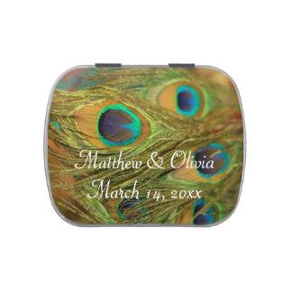 Peacock Feathers Personalized Mint Tins Jelly Belly Tins