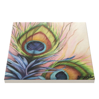 Peacock feathers print on canvas