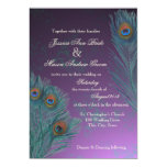 Peacock Feathers Purple Wedding 13 Cm X 18 Cm Invitation Card